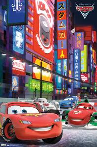 disney pixar cars 2 movie racing tokyo new 22x34 poster free fast