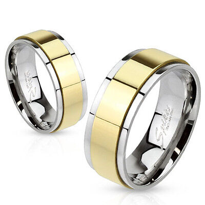 316L Stainless Steel Gold IP Two Tone Center Spinner Wedding Band Ring Sz 5-14
