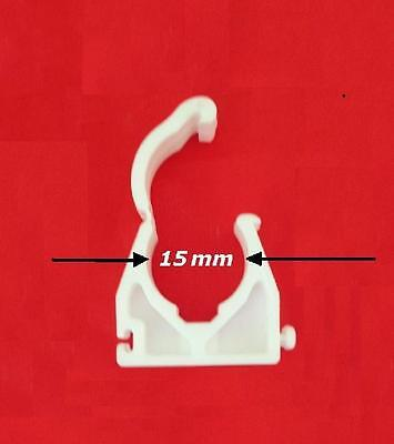 """12 (1doz) 15mm 1/2"""" TOWER SNAP-LID PIPE CLIP WHITE 78BSLW15 JIGSAW PARRALEL LINK"""