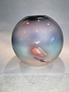 Vintage 80/'s Memphis Design Style Round Ceramic Sphere Vase
