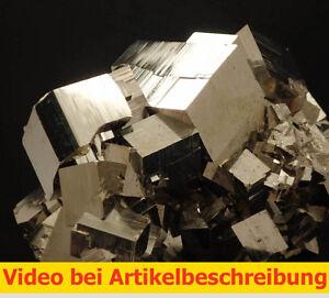 6459-Pyrit-pyrite-super-Aufbau-und-Glanz-360-Grad-Huanzala-Peru-9-12-8-cm-MOVIE