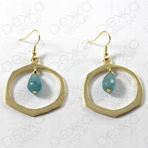 Gold-Hoop-Ring-Aquamarine-Earrings-Hook-Semi-Precious-Stone-Bronze-Gemstones