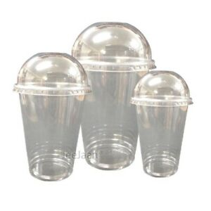 Smoothie Cups /& Lids 8 10 12 15 20oz Clear Domed Flat Lids Plastic Straws