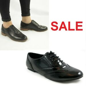Ladies New Casual Flats Office Work Lace Up Oxford Brogue Shoes UK Sizes 4 5 6 7