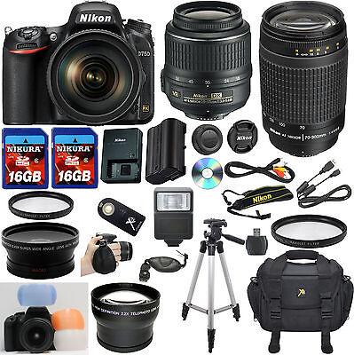Nikon D750 DSLR Camera w/ VR 18-55mm + 70-300mm G + 32GB Top