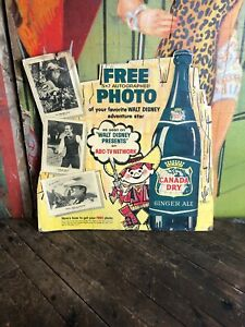 VINTAGE-CANADA-DRY-WALT-DISNEY-PRESENTS-LITHOGRAPH-SIGN-COKE-PEPSI-ORANGE-CRUSH