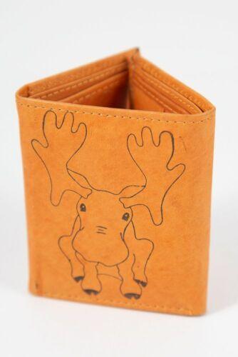 Kids Wallet/_ Hammy Moose/_Mini Wallet/_Genuine Leather/_Tri Fold/_
