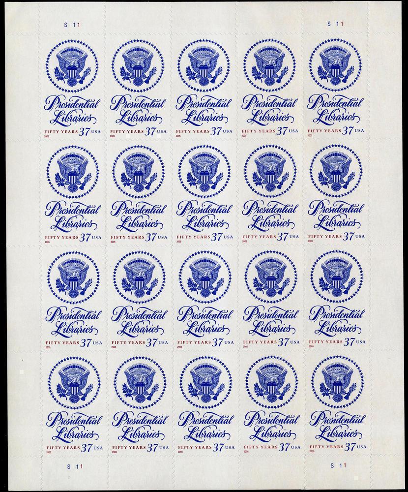 2005 37c Presidential Libraries, Sheet of 20 Scott 3930