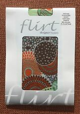 Flirt Light Green Funky Floral Microfibre Short Footless Tights, One Size, BNWT