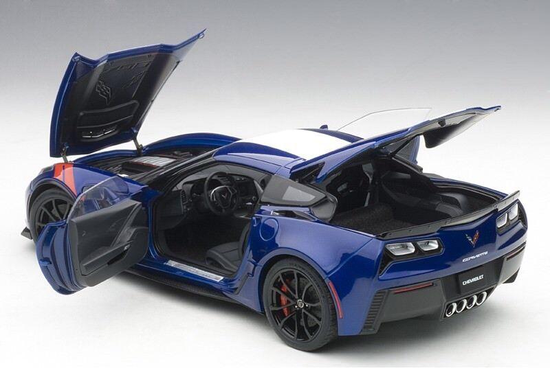 Autoart CHEVROLET CORVETTE C7 GRAND SPORT ADMIRAL blueE WHITE STRIPES 1 18 New