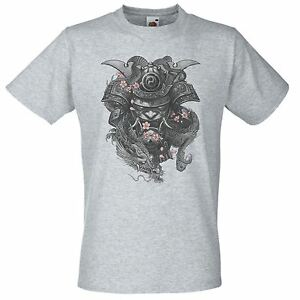 Mens-Grey-Samurai-Mask-T-Shirt-Mens-Japanese-Hannya-Mask-Top