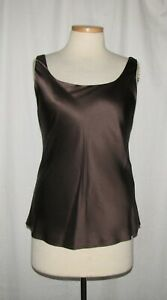 Lafayette-148-New-York-Chocolate-Brown-Silk-Double-Layer-Sleeveless-Shell-Top-10