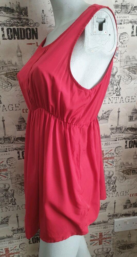 New Look Rouge Maternité Haut Sans Manches Taille 14 Uk