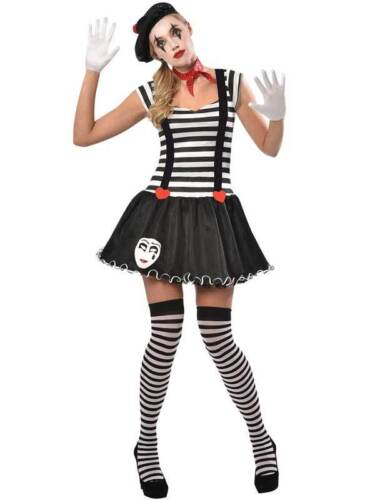 Adult Miss Mime Artist Costume Womens French Street Circus Fancy Dress Ladies