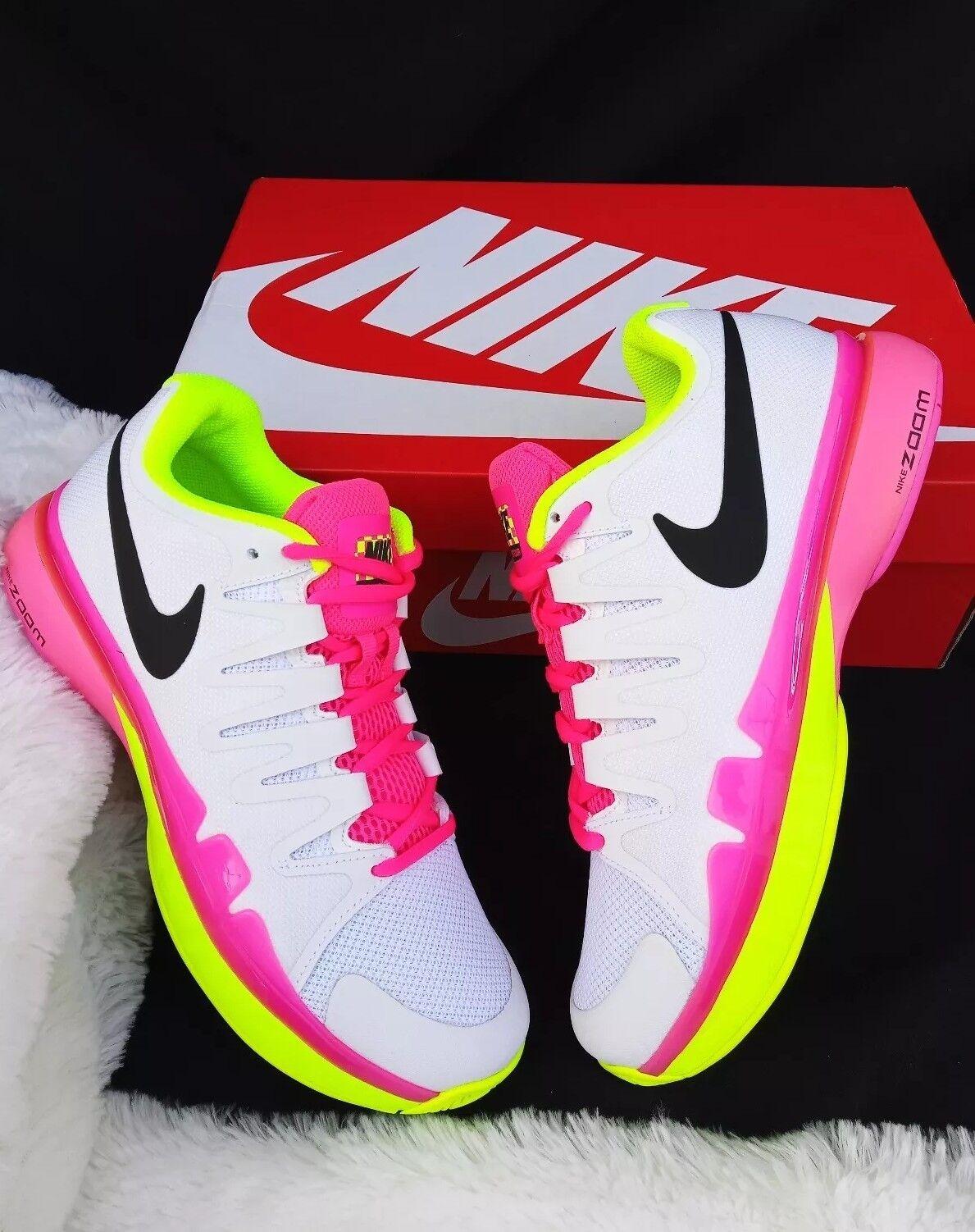 Size 11 women's  Nike Zoom Vapor 9.5 Tour White pink Green 631475 107 tennis