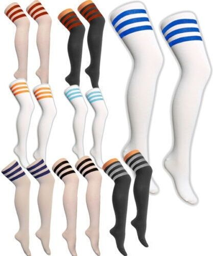 New Men Ladies Over The Knee High Referee Socks Sox School Time Fancy Dress