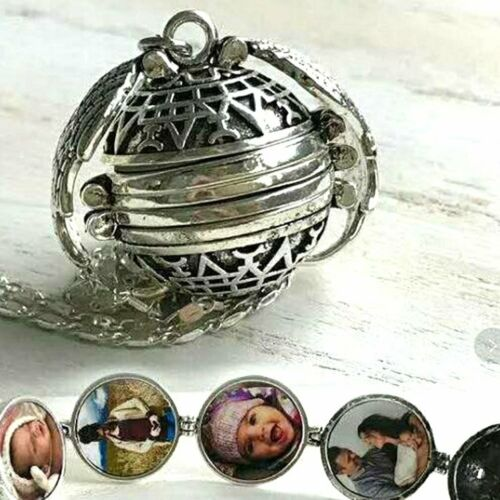 Antique Silver Personalized Pendant Wings Necklace Locket 18Mm Pictures Frame SI