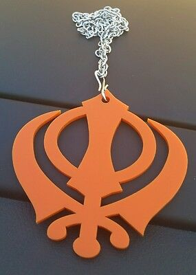 Orange Acrylic Small Khanda Punjabi Sikh Pendant Car Rear Mirror Hanging Chain