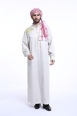 Men Dubai Clothes Muslim Thobe Abaya Robe Daffah Dishdasha Islamic Kaftan New