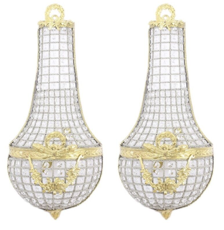 Éclairage cm-Gold-Paire cristal Laiton Appliques 45 cm-Gold-Paire Éclairage #MB60 2e33b7