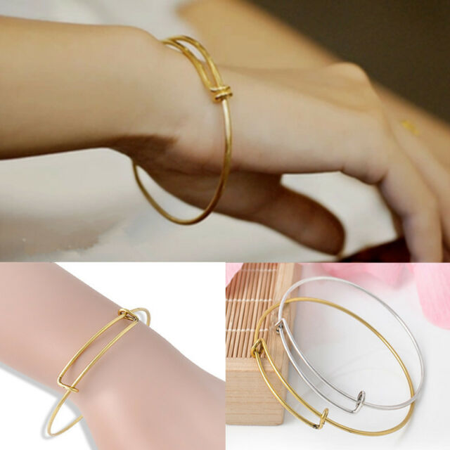 Womens Simple Expandable Wire Bangle Bracelet Adjustable Gold Silver Jewelry New
