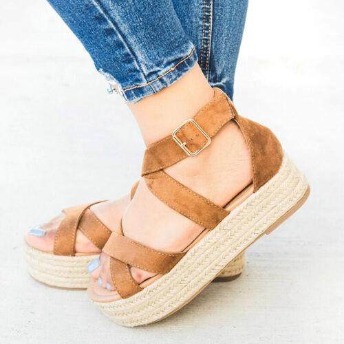 Womens Platform Espadrilles Summer Beach Flip Flops Wedge Shoes Flats Sandals