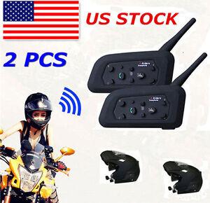 2 X BT Bluetooth Motorcycle Helmet Interphone Intercom Headset 6 Riders 1200M EK