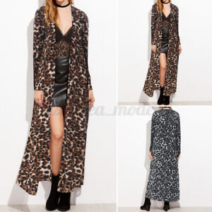 Mode-Femme-Cardigans-Haut-Loisir-Plage-Manche-Longue-Imprime-leopard-Manteau