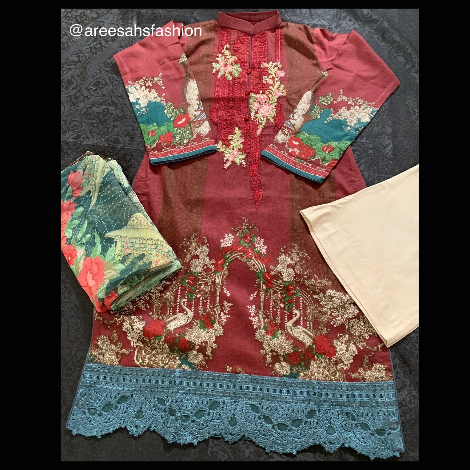 New Ladies Maria B Inspired Asian Clothing Pakistani Stitched 3 Piece Suit