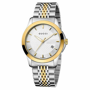 New-Gucci-G-Timeless-Silver-Dial-Two-Tone-Gold-YA126409-38mm-Watch