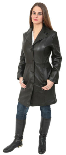 Womens Black Trench Leather Coat 3//4 Long Cynthia Classic Parka Fitted JACKET