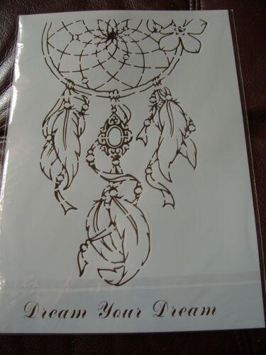 artesanía Hazlo tú mismo cráneo y Dreamcatcher A4 capas Stencils Plantillas recortes