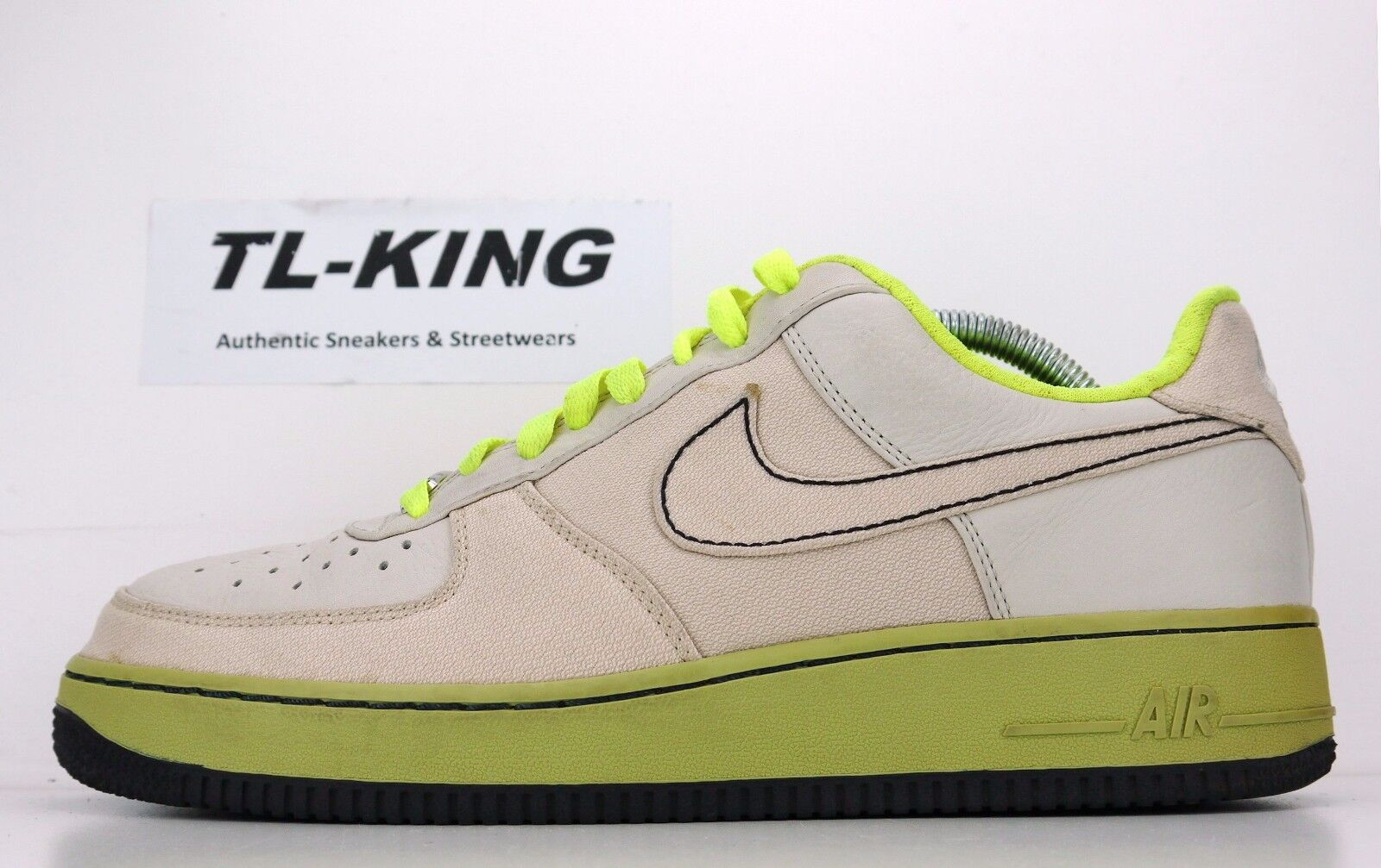 2007 Nike Air Force 1 Premium Toronto Bone Volt Green 315180 002 Price reduction New shoes for men and women, limited time discount