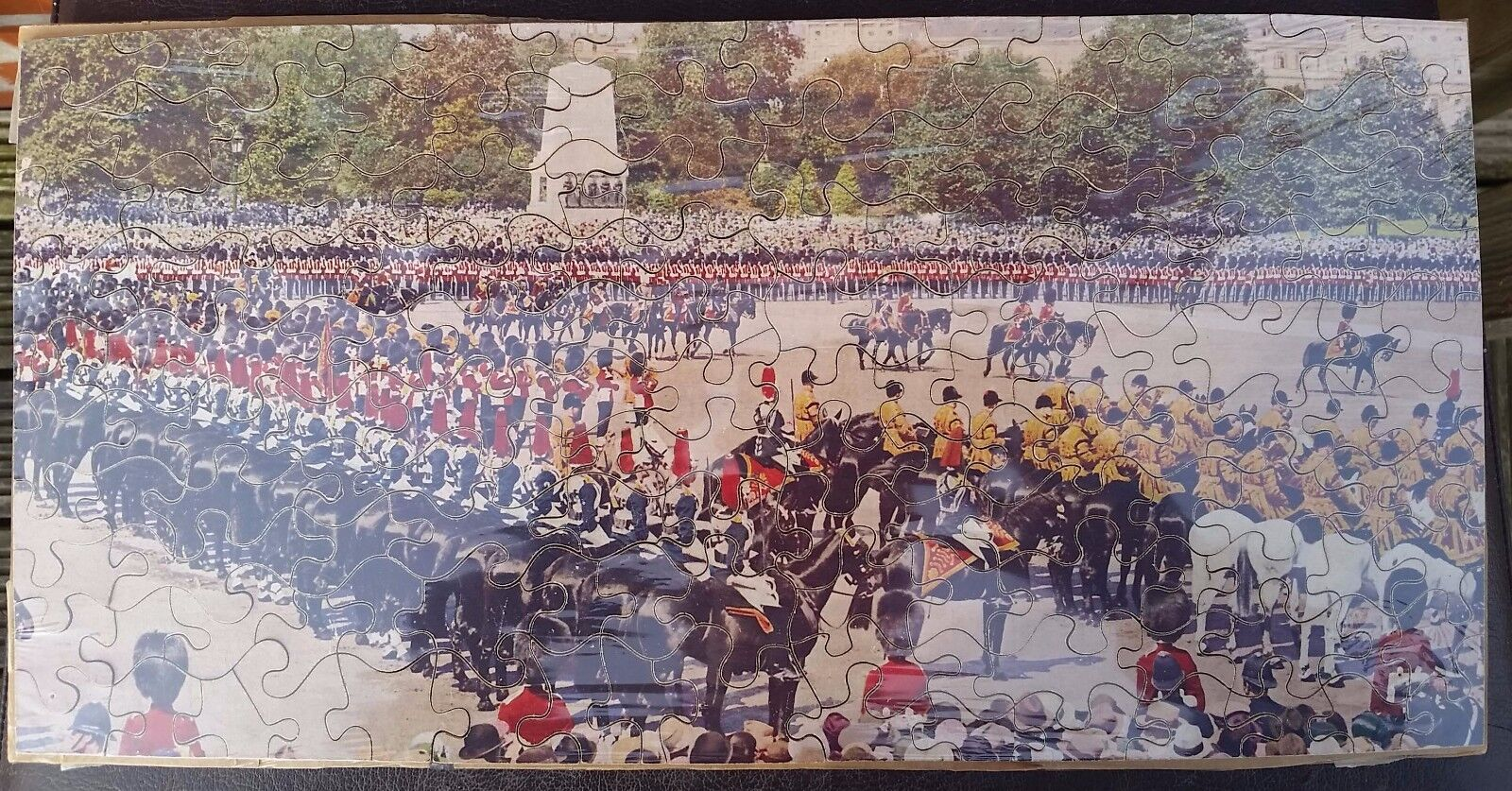 Complete Vintage Wooden Jigsaw Puzzle AVN Jones Trooping The Colour Horse Guards