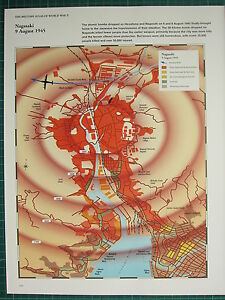 Nagasaki On World Map.Ww2 Wwii Map Nagasaki 9 Aug 1945 City Plan Blast Fire Damage