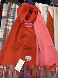 100% Pure Cashmere Scarf | The House Of Cashmere | Red and Pink | Reversible