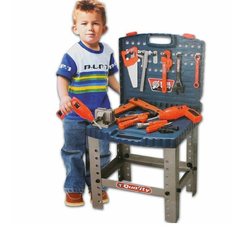 Gifts! DIY Electric Toy Mechanic Tool Box Set For Children Playing Tools