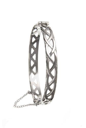 Ladies Sterling Silver Celtic Twist Knot Hinged Bangle Bracelet Celtic Jewellery