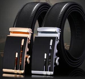 Men-039-s-Genuine-Leather-Automatic-Buckle-Belt-Waist-Strap-Belt-Waistband-110-140cm