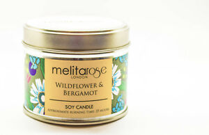Scented-Soy-Wax-Candle-in-Tin-WildFlower-amp-Bergamot-160g-Melitarose