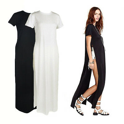 Sexy Women Short Sleeve Open Side High Split Tee T-Shirt Long Top Maxi Dress