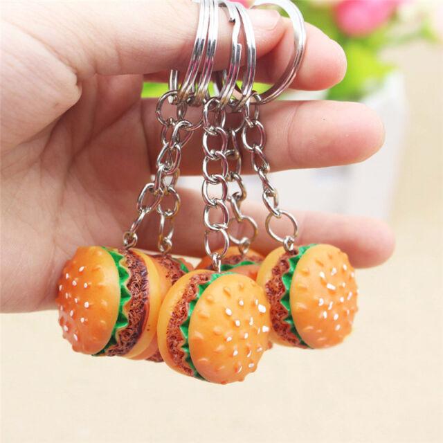 Cute Hamburger Key Chain Ring Charm Pendant Bag Purse Food Keyring Women-Jewelry