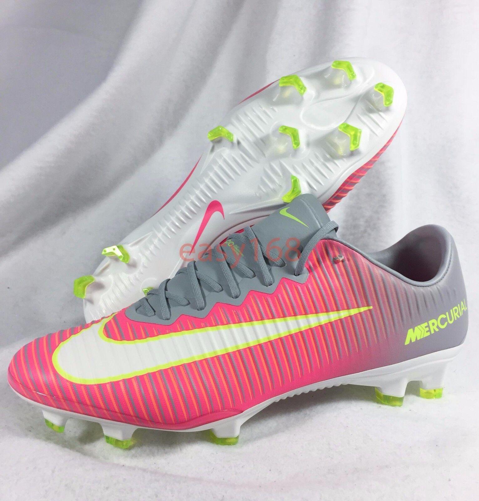 New Nike Mercurial Vapor XI FG Sz 13 WMNS Soccer 45.5 Cleats 844235 Pink Women's