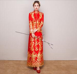 Womens-grace-Cheongsam-Wedding-Bride-Dress-QiPao-Chinese-lady-embroider-Long-Sz