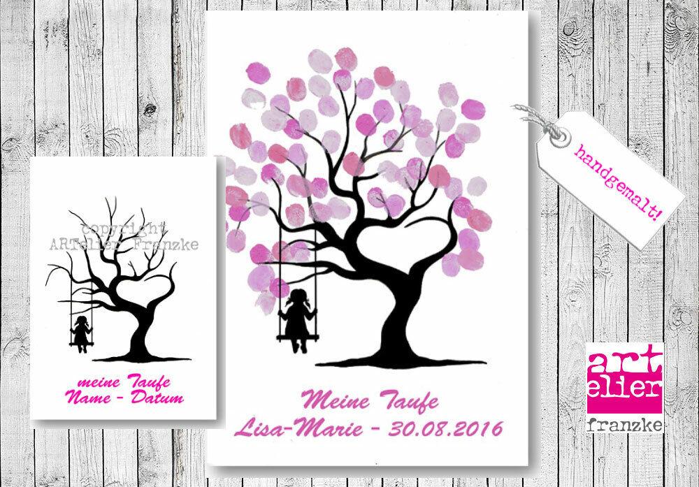 TAUFBAUM Handzeichnung Lebensbaum Mädchen Fingerprint Bild Kommunion Gästebuch