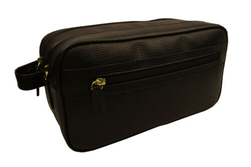Brooks Brothers Mens Brown Pebbled Leather Dual Zip Tavel Toiletry Case 8197-5