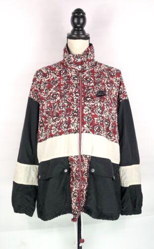 Nike M Vintage Taille Rare Jacket Windbreaker Rouge Années Noir 90 Floral 10 12 BqSTdSw
