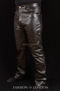 Men-039-s-Leather-Trouser-Pants-039-501-JEANS-STYLE-039-Black-Cowhide-Classic-Biker-Pants
