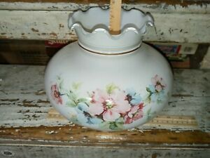 "Vtg GWTW Milk Glass Lamp Shade Hand Painted Flowers Floral Ruffled Top 7"" Fitter"
