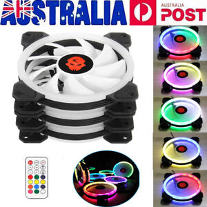 3-Pack-RGB-LED-Quiet-Computer-Case-PC-Cooling-Fan-120mm-with-Remote-Control-AU